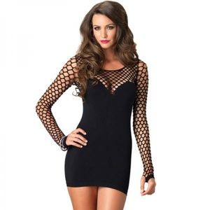 b46ed1757 ... Seamless Mini Dress Diamond Net Bodice Sleeves O S ...